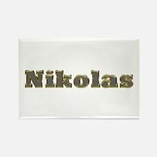 Nikolas Gold Diamond Bling Rectangle Magnet