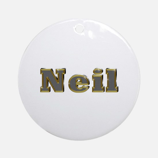 Neil Gold Diamond Bling Round Ornament