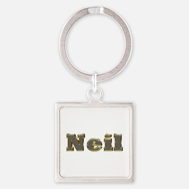 Neil Gold Diamond Bling Square Keychain