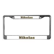 Nikolas Gold Diamond Bling License Plate Frame