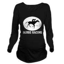Horse Racing Long Sleeve Maternity T-Shirt
