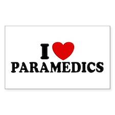 I Love Paramedics Rectangle Decal