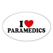 I Love Paramedics Oval Decal
