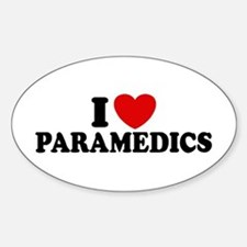 I Love Paramedics Oval Decal