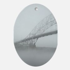 Bourne Bridge in Fog Oval Ornament