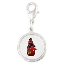 Rodeo Clowns Silver Round Charm