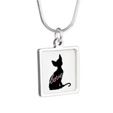 Sphynx Love Silver Square Necklace