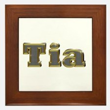 Tia Gold Diamond Bling Framed Tile