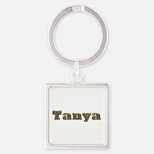 Tanya Gold Diamond Bling Square Keychain