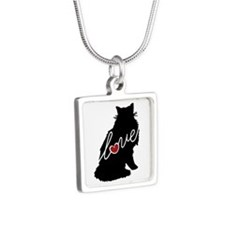 Norwegian Forest Cat Silver Square Necklace