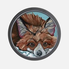Red Fox in Snow Wall Clock