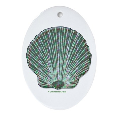 Aqua & Blue Scallop Oval Ornament
