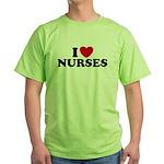I Love Nurses Green T-Shirt