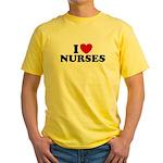 I Love Nurses Yellow T-Shirt