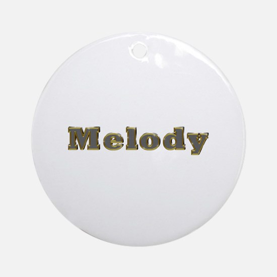 Melody Gold Diamond Bling Round Ornament