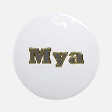 Mya Gold Diamond Bling Round Ornament