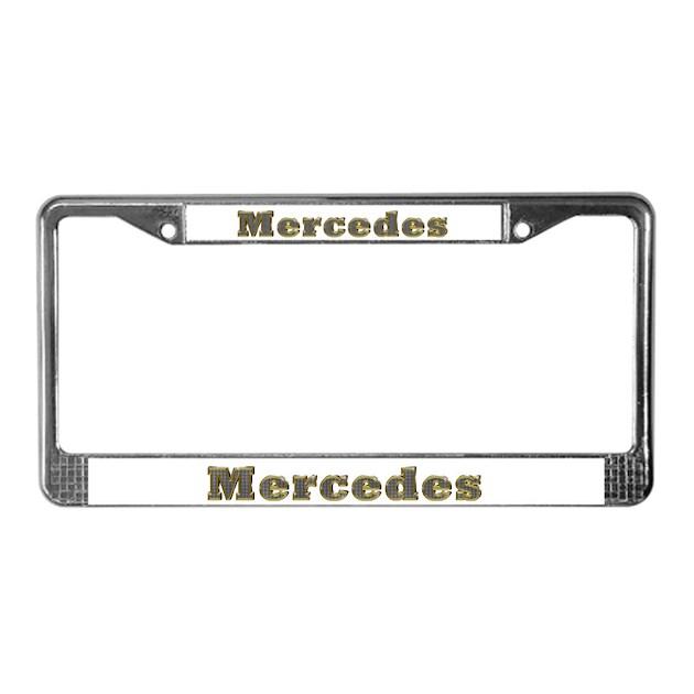 Mercedes gold diamond bling license plate frame by for Mercedes benz license plate frame rhinestones