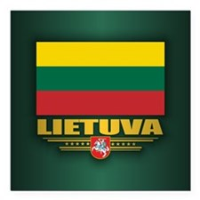 "Lithuania Square Car Magnet 3"" x 3"""