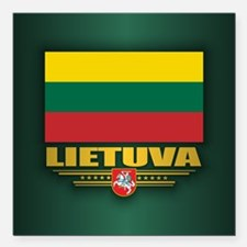 "Lithuania Square Car Magnet 3"" x 3"""