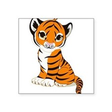 Tiger Cub Sitting and Watching Sticker