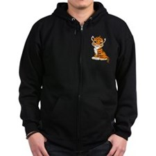 Tiger Cub Sitting and Watching Zip Hoody