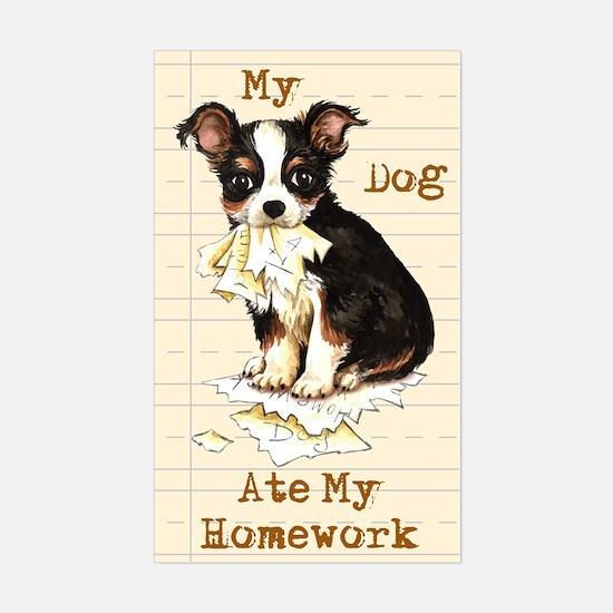 Chihuahua Ate Homework Rectangle Decal
