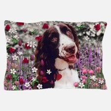 Lady Brittany Spaniel Flowers Pillow Case