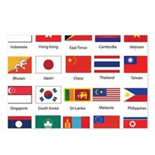 Asian Flags Postcards (Package of 8)