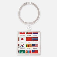 Asian Flags Square Keychain