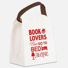 Book Lovers Never Alone Canvas Lunch Bag