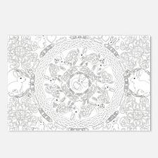 Black and White Celtic Knot Rabbit Mandala Postcar