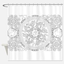 Black and White Celtic Knot Rabbit Mandala Shower