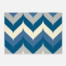 Blue Chevron 5'x7'Area Rug