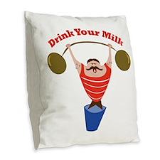 Drink Your Milk Burlap Throw Pillow