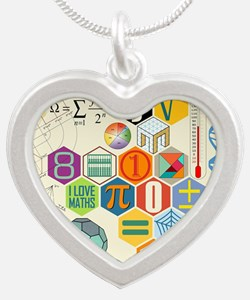 Cute Math Silver Heart Necklace
