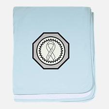 Lung Cancer Awareness Ribbon Design baby blanket
