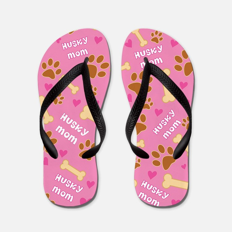 Husky Dog Mom Gift Flip Flops