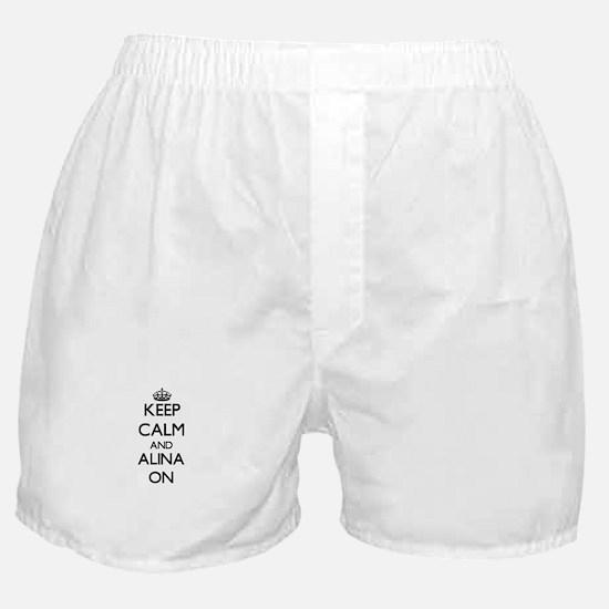 Keep Calm and Alina ON Boxer Shorts