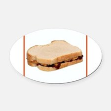 Peanut Butter and Jelly Sandwich Oval Car Magnet