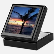 Beach Sunset Palm Tree Keepsake Box