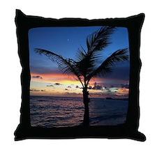 Beach Sunset Palm Tree Throw Pillow