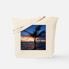 Beach Sunset Palm Tree Tote Bag
