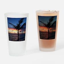 Beach Sunset Palm Tree Drinking Glass