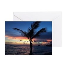 Beach Sunset Palm Tree Greeting Card