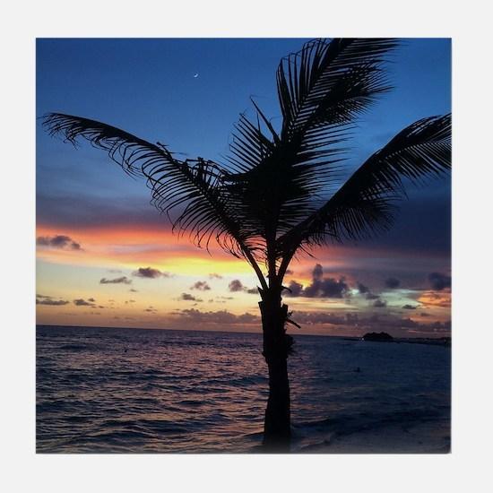 Beach Sunset Palm Tree Tile Coaster