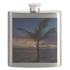 Beach Sunset Palm Tree Flask
