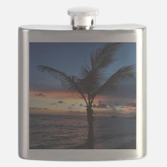 Beach Sunset Palm Tree Flask