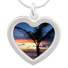 Beach Sunset Palm Tree Silver Heart Necklace