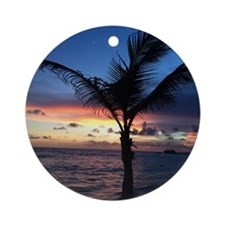 Beach Sunset Palm Tree Round Ornament