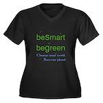 beSmart beGreen Women's PLUS SIZE V-Neck Dark T-Sh